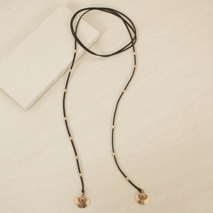 160cm Faux Leather Lariat with Beads and Fan