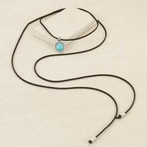 160cm Faux Leather Lariat with Turquoise Medal