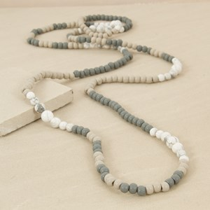 165cm Graduated Marble and Wood Pattern Necklace