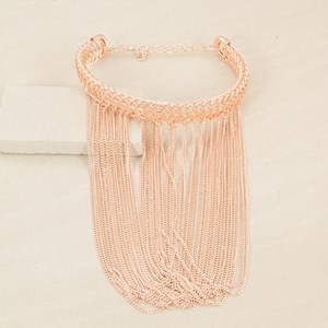 30cm Circle Chain Choker with Loop Fringe Necklace