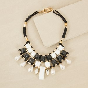 42cm Double Row Resin and Pearl Statement Necklace