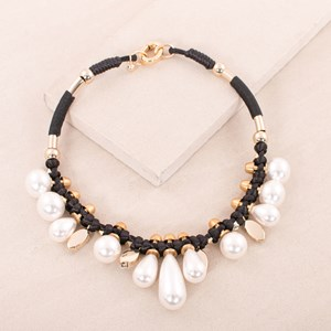 44cm Pearl Jewel and Cord Necklace