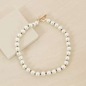 50cm Pearl and Black Bead Necklace