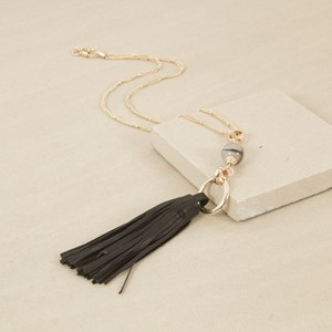 55cm Leather Tassel and Stone Drop Necklace