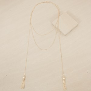 59cm Double Layer with Tassel Lariat Necklace