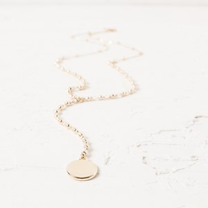 72cm Y drop Ball Chain with Disc Necklace