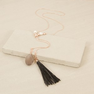 80cm Leather Tassel and Stone Drop Necklace with Pearl