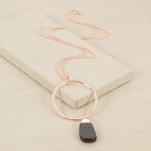 80cm Ring and Capped Stone Necklace