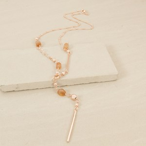 80cm Rod Drop and Interval Balls and Stone Necklace