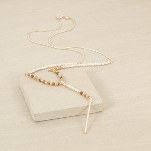 80cm Tiny Stone Ball and Rod Necklace