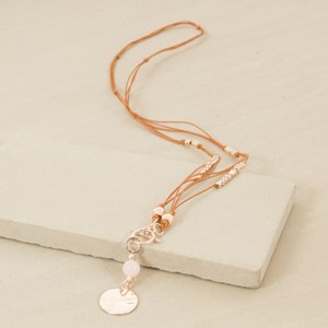 82cm Knotted Toggle Leather Disc Necklace