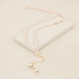 90cm Double Drop Resin Metal Pattern Necklace