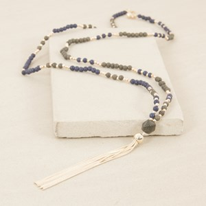 90cm Fine Stone and Ball Tassel Necklace