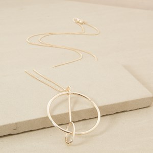 90cm Ring and Drop Through Oval Necklace