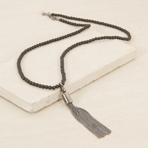 90cm Small Resin Ball and Snake Tassel Necklace