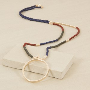 90cm Three Tone Crystal and Resin Ring Necklace