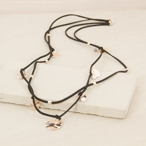 92cm Double Suede Necklace with Discs and Marble