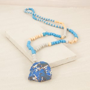 92cm Wood Bead Necklace with Sliced Stone Drop