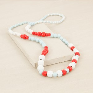 95cm Patterned Graduated Wood Bead Necklace