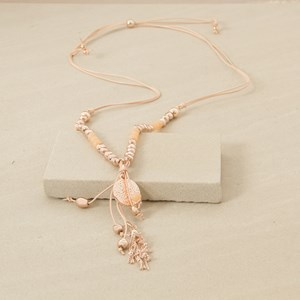 98cm Leather Stone and Tassel Necklace