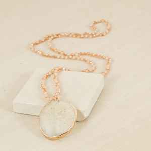 Agate & Knotted Crystal Long Necklace