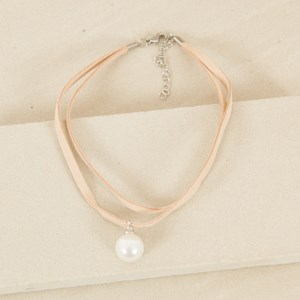 Two Layer Faux Suede and Pearl Choker