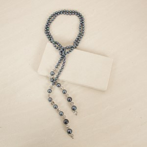 Faux Pearl and Glass Crystal Lariat Necklace