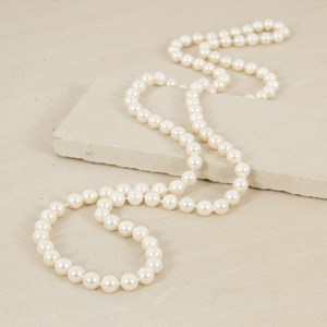 Knotted 10mm 110cm Glass Pearl Necklace