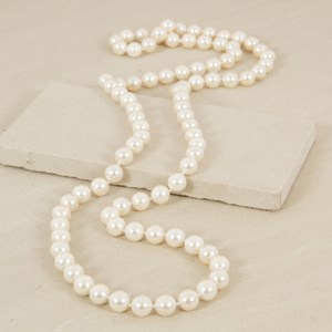 Knotted 12mm 110cm Glass Pearl Necklace