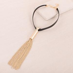 Leather Tassel Drop Mid Necklace