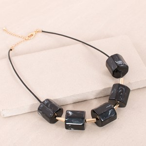 Resin Cylinders on Cord Short Necklace
