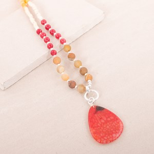 Frosted Stone & Agate Necklace