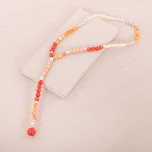 Peach & Stone Patterned Y Necklace