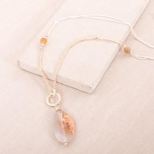 Stone Ball & Sliced Stone Necklace