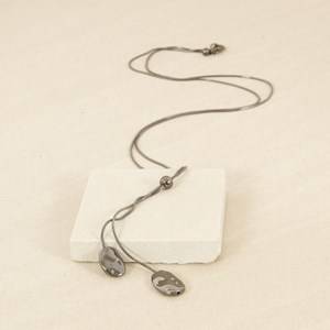 Adjustable Lariat with Uneven Oval Drops Necklace