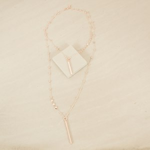 Double Layer Mini Ball Chain with Rods Necklace