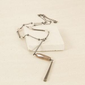 Y Shaped Stone & Rod Drop Short Necklace