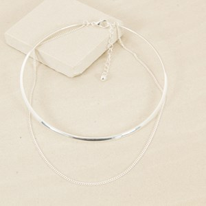Fine Chain Double Layer Collar Necklace