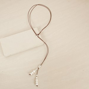 Adjustable Double Strand Leather Freshwater Pearl Neckl