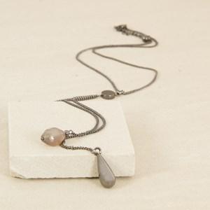 Teardrop & Stone Drops Fine Y Necklace