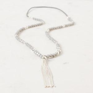 Long Facet Crystal & Ball Interval Tassel Necklace