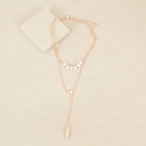 Fine Chain Pearls & Layer V Drop Necklace