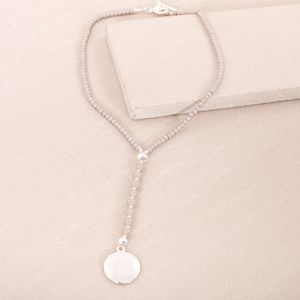 Aged Stone & Glass Disk Short Y Necklace
