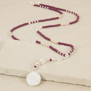Fine Patterned Stone Necklace with Textured Drop