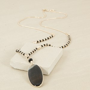 Two Tone Stone Drop on Crystal Necklace