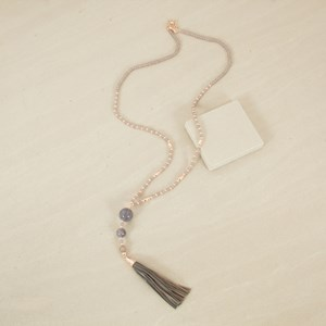 Patterned Glass Bead and Tassel Necklace