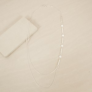 Rod & Disc Pattern Double Snake Chain Necklace