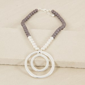 Aged Stone & Balls Double Ring Necklace