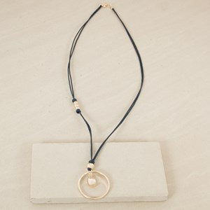 Triple Layer Leather Ring & Drop Necklace