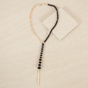 Facet Crystal & Chain Y Shaped Necklace